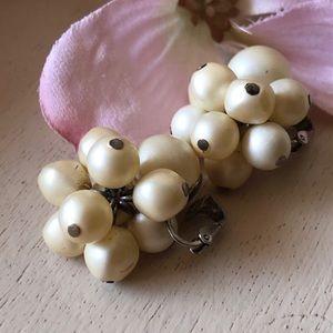 Vintage Richelieu Pearl Cluster Clip On Earrings